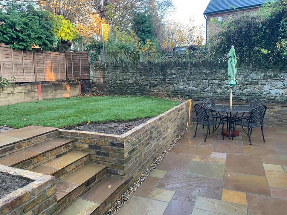 back garden with sandstone patio