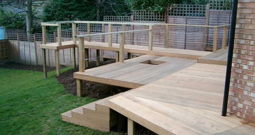 Decking garden structures manor landscapes for Garden decking materials