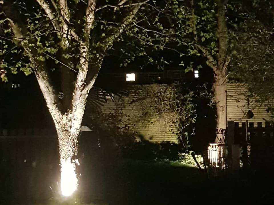 summer evening with garden lighting