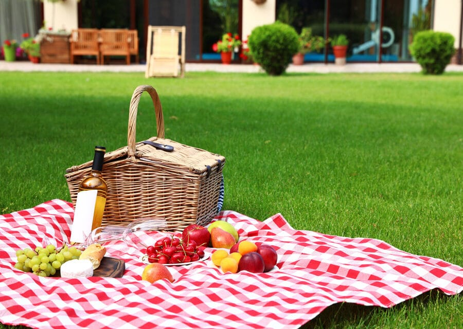 the simplest form of entertaining outdoors - a picnic