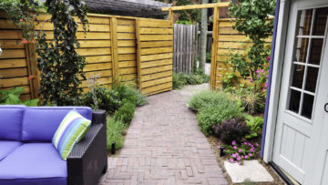 small gardens seating area, pathway and patio