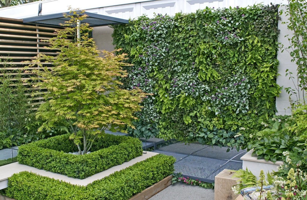 living green wall to make more of the space in a small garden