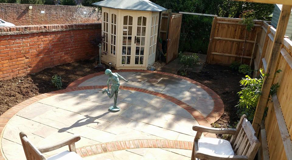 garden makeover ideas - patio with interlocking circular design
