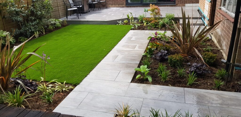 moderate sized garden with different elements contributing to the landscaping cost