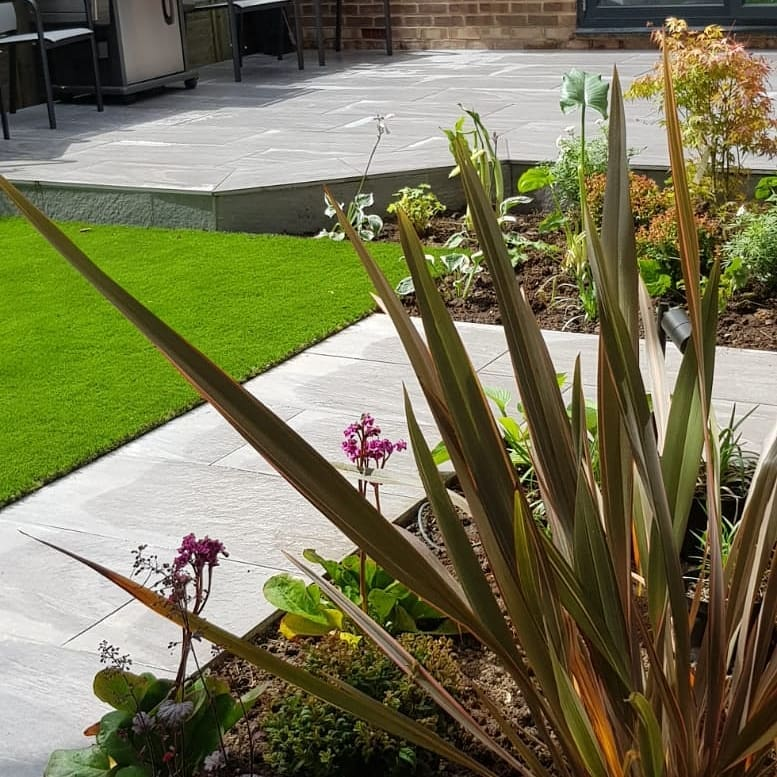 modern garden with patio, path, lawn and planting
