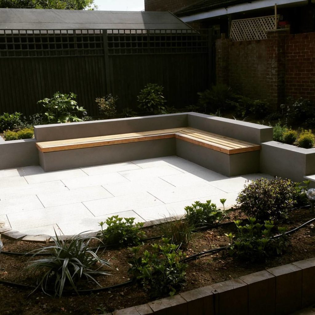 garden structures including floating benches designed by Lindsay Evans