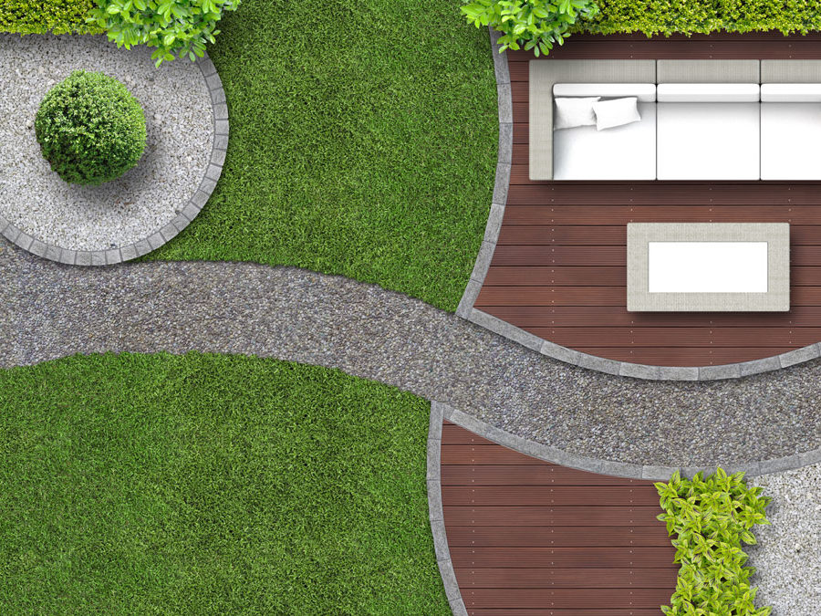 computer generated garden plans with decking, lawns and winding path
