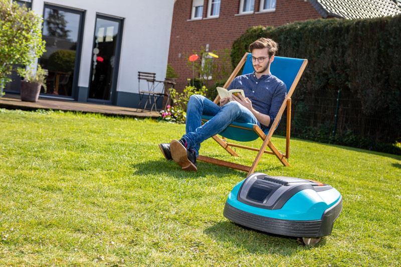 robot mower in a low maintenance garden